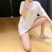 """""""Dior"""" Women Simple Letter Short Sleeve Round Neck Loose  Embroidery Solid Color T-shirt"""
