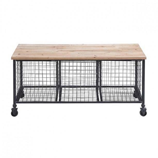 Image of Industrial Rolling Bench with Wire Baskets