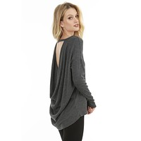 Cowl Back Top Heather Black