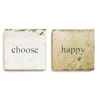 Second Nature By Hand 'Choose Happy' Wood Plaques (Set of 2)