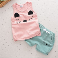 Baby girls boys clothes sets Summer Sleeveless Set Children Boys Girls Kids infant Suits Tracksuits Cotton Short + Pants 2pcs