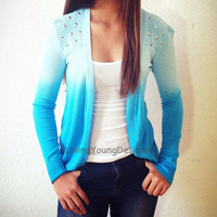 Blue Ombre Studded Knit Sweater Dip Dye by LivingYoungDesigns