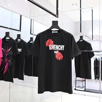 givenchy 2018ss flowers letters t shirt ★ 009