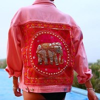 Delinquent Denim Sequin Festival Jacket in Pink