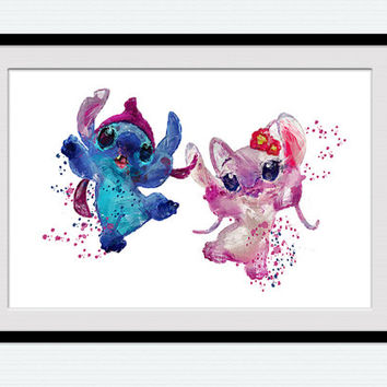 Lilo and Stitch art print Stitch watercolor poster Disney decor Disney watercolor art Home decoration Kids room wall art Nursery decor W26