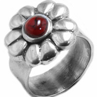 Authentic Artisan Handcrafted Red Blood stone mosaic Silver Flower Ring 925 Size 7