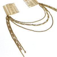 """Uneven Weavin"" Gold Hair Comb Head Chain"