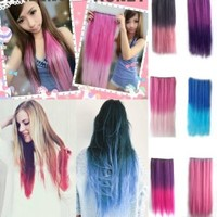 NSSTAR Newfangled Fashionable Multicolor Gradually Varied One Piece Straight Synthetic Clip-on Hair Extension 60cm Length,Multiple Choice (Straight, Dark Pink to Light Pink)