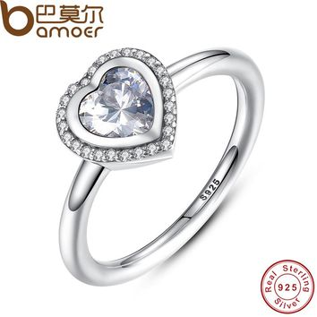 BAMOER 2016 Spring Collection 925 Sterling Silver Sparkling Love Heart Ring Women Jewelry Saint Valentine's Day Gift PA7135
