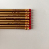 princess bride gold pencil set of 8. engraved pencils. as you wish.