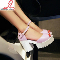 Thick High Heels Platform Summer Dress Shoes For Women Sexy Casual Peep Toe Sandal Hot Sale