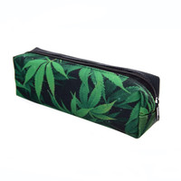 Space weed green 3D Printing pencil case women cosmetic bag fashion school bags