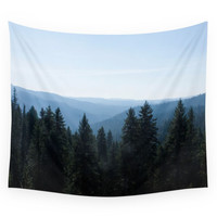 Society6 Photo Of Scenic View Of Tree Lined Valle Wall Tapestry