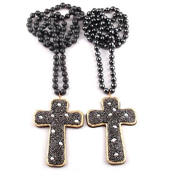 Crystal Pearl Cross Pendant Necklaces