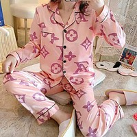 Louis Vuitton LV Fashion Woman Print Pajamas Louis Vuitton Leisure wear Two Piece