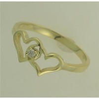 DIAMOND promise heart RING 10KT YELLOW GOLD FREE SHIPPING