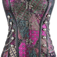 Atomic Purple Patchwork Steampunk Overbust Corset