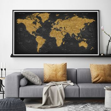 World map poster World map decor Large world map Travel art Push pin map poster  Extra large wall art Travel poster