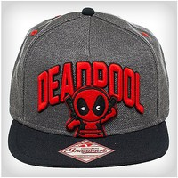Deadpool 3D Emblem Grey Snapback Hat - Spencer's