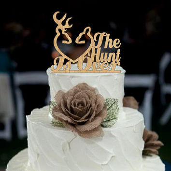 Wedding cake topper rustic the hunt is over, deer wedding cake topper, Country Cake Topper, shabby chic, redneck, cowboy, outdoor, western
