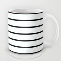 Thin Black Stripe Pattern Mug by RexLambo
