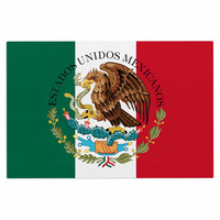 """Bruce Stanfield """"Mexico Flag And Coat Of Arms"""" Red Green Decorative Door Mat"""