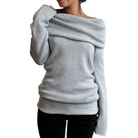 Shrugged Off Shoulder Pullover Sweater