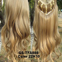 """HOT 3/4 Half Long Curly Wavy Wig Heat Resistant Synthetic Wig Hair 200g 24"""" Highlighted Curly Wig Hairpieces with Comb Wig Hair GS-TFA888 22H10"""