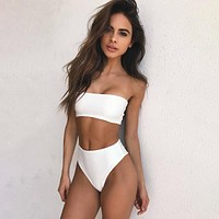 Fashion  Simple Solid Color Strapless Bikini Underwear Lingerie Set