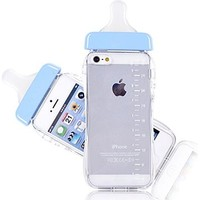 Generic Baby Bottle Cute 3D TPU Soft Pregnant Woman Milk Bottle Clear Case Lanyard Case Cover for iPhone 5/5s (Blue)