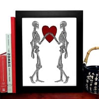 I'll Love You Forever, Skeletons With Heart, Love, Human Anatomy, Occult Theme, Home Decor, College Dorm Room,Wedding Gift, Giclee Art Print