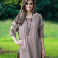 Umgee Mocha Fray-Trim Top - Boutique At Audrey's