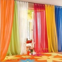 245CM*140CM Candy Color Long Gauze Curtain Top Quality Finished Voile Curtains Big Promotion Hot Home Accessories = 1958522052