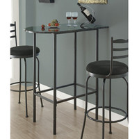 Monarch Specialties 2325 Grey Marble Top Spacesaver Bar Table in Charcoal