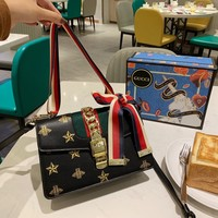 HCXX 19Oct 107 Gucci Sylive Classic Fashion Chain Crossbody Pouch Flap Baguette Messenger Bag 25-16