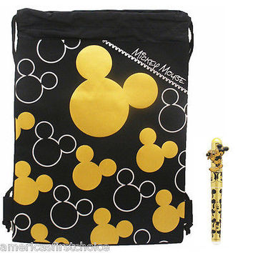 MICKEY MOUSE GOLD AND BLACK SHAPES DRAWSTRING BAG BACKPACK+MICKEY GOLD PEN COMBO