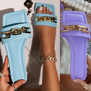 New women's chain fashion sandals and slippers flat color sandals shoes