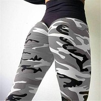 NORMOV Leggings Women Workout Elasticity Pants High Waist Push Up Fitness Femme Body Sculpting Clothing Sexy Camo Costumes