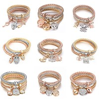 3 Piece Gold Silver and Rose Gold Tree of Life Charm Bracelet - 12 Styles