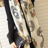 Unique Skull Style in White Scarf from 1Point99.com