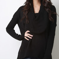 Oversized Cowl Neck Knit Sweater