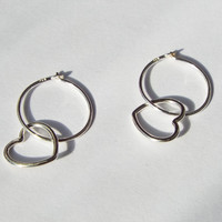 Mini Hoop with Open Heart Sterling Silver Earrings