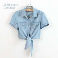 All-match denim shirt female sweep tieclasps lacing denim outerwear cardigan short design for women blouse Free shipping