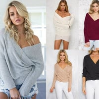 Women's Fashion Winter Sexy Long Sleeve Tops Sweater [9572041679]