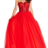Alyce 60204 Ball Gown with Sequin Bodice- Red
