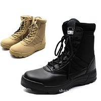 PLUS SIZE:36-46 New Us Military Leather Combat Boots for Men Combat Bot Infantry Tactical Boots Askeri Bot Army Bots Army Shoes