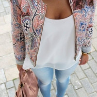 Pink Floral Round Neck Short Sleeve Jacket with Zipper