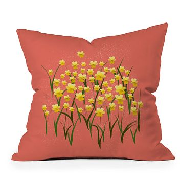 Joy Laforme Pansies in Gold and Coral Throw Pillow