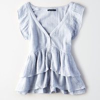 AE Ruffle Raglan Top, Light Blue