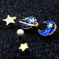 Blue Star Moon And Planet Rhinestone Earring + Gift Box